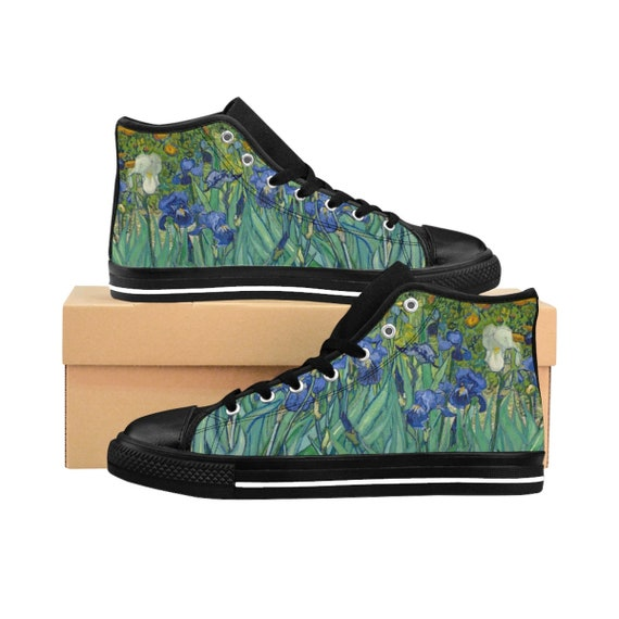 Irises, Women's High-top Sneakers, Vintage Painting, Van Gogh 1890