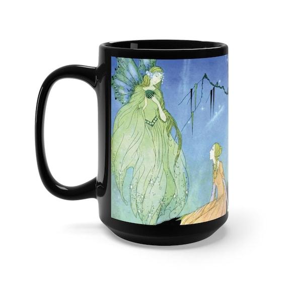 Old French Fairy Tales, Black 15oz Ceramic Mug, Vintage Illustration, Virginia Frances Sterrett, 1920