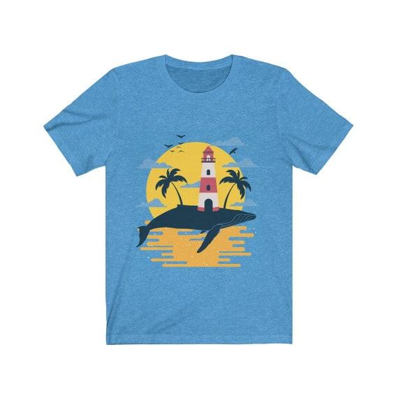 Blue Whale Island, Unisex Jersey Short Sleeve Tee, Vintage Inspired Island Image