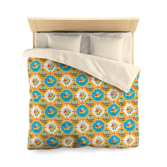 Folk Flower Patchwork Quilt Pattern, Queen Duvet Cover, Farmhouse, Country Decor