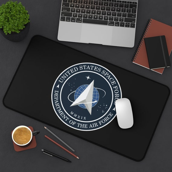 Space Force Insignia Logo Desk Mat, From Official USSF Seal, Military