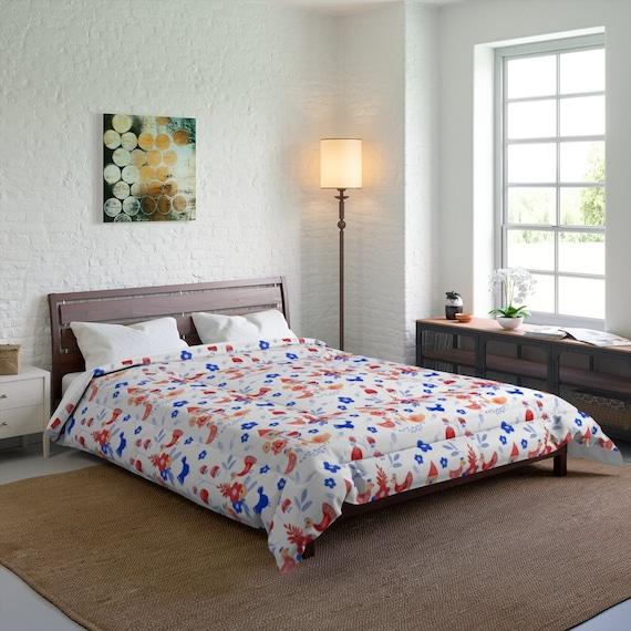 Folk Art Pattern Queen Comforter, Farmhouse, Country Decor