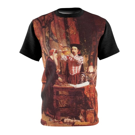 The Alchemist, Unisex T-shirt, Vintage Painting, William Fettes Douglas, 1853, AOP