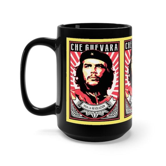 Che Guevara Viva La Revolucion 15oz Black Ceramic Mug, Retro/Vintage Style, Revolution, Leftist, Marxist, Communist, Socialist, Activism