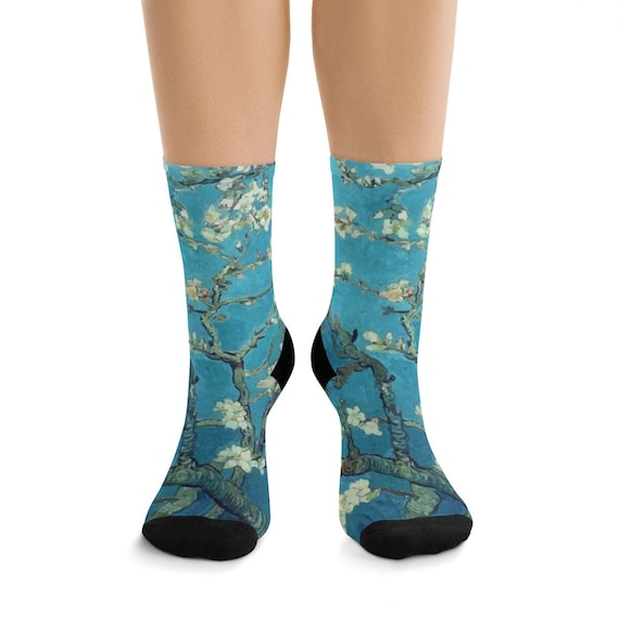 Almond Blossoms Premium Crew Socks, One Size Fits Most, Vintage Painting, Van Gogh 1890
