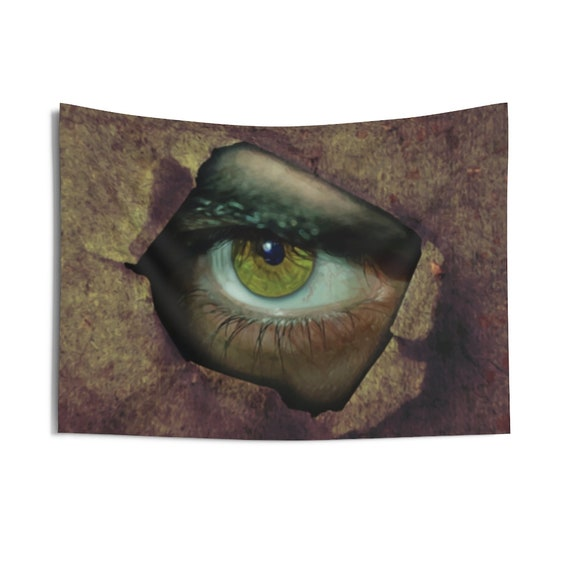 "Peephole, 36""x26"" Indoor Wall Tapestry, Creepy, Horror, Wall Decor"