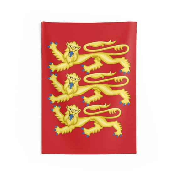 "Plantagenet Lions, 36""x26"" Indoor Wall Tapestry, Royal Arms of England, English Pride"