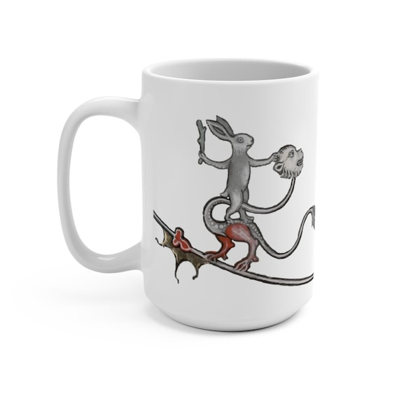 Medieval Rabbit Rides Monkey Dragon White 15oz Ceramic Mug, From Medieval Manuscript, Marginalia, Coffee, Tea