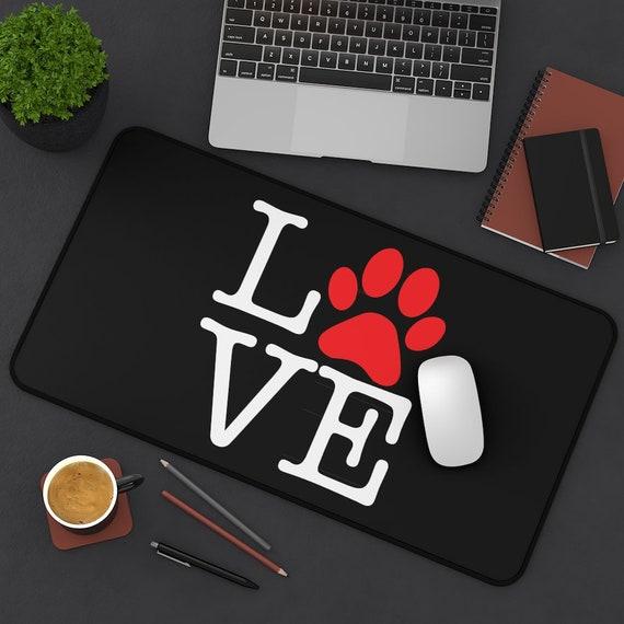 Love Paw Print Desk Mat, I Love Dogs, I Heart Dogs