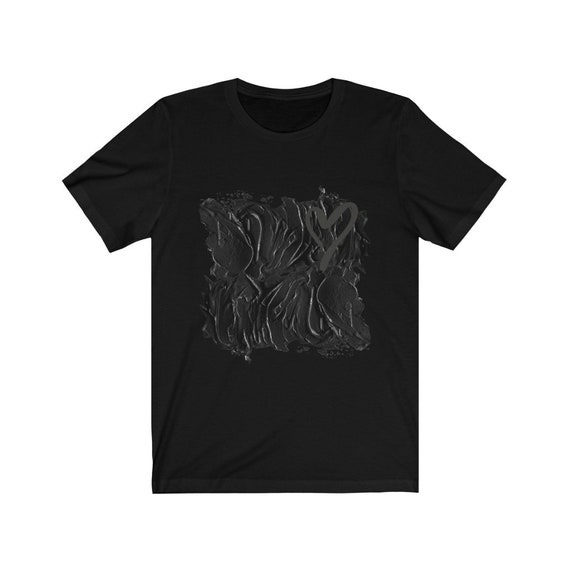 Black Heart Bella+Canvas Soft T-shirt, Abstract, Anti-Valentines Day