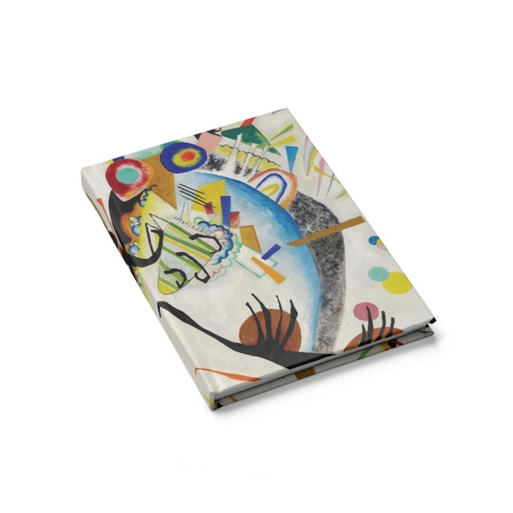 Blue Segment, Hardcover Doodle Book, Blank Pages, Opens Flat, Vintage Abstract Painting, Wassily Kandinsky, 1921, Notebook