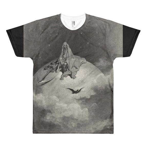 Death Sits Atop The World, Unisex T-shirt, Half Black Sleeves, Vintage, Antique Illustration, Gustave Dore, 1883