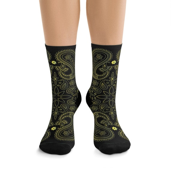 Black & Yellow Paisley Premium Crew Socks, One Size Fits Most