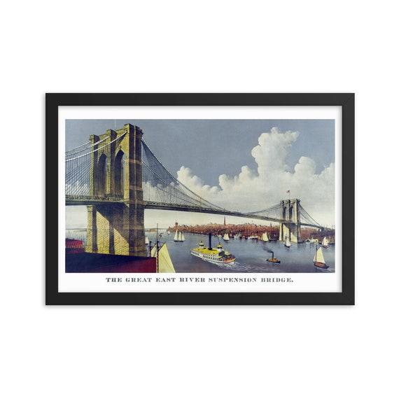 "Vintage Brooklyn Bridge, 18""x12"" Framed Giclée Poster, Black Wood Frame, Acrylic Covering, Great East River Suspension Bridge"