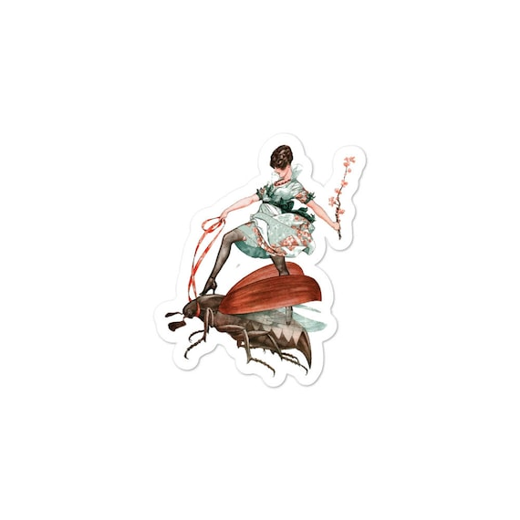 Flying High, Vinyl Outdoor Opaque Bubble-free Sticker, Vintage Jazz Age Woman Riding Large Flying Insect
