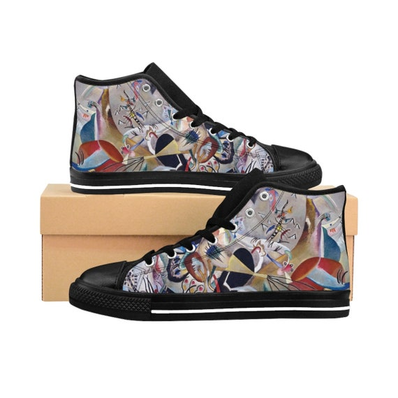 Wassily Kandinsky, In Grey, Men's High-top Sneakers, Abstract