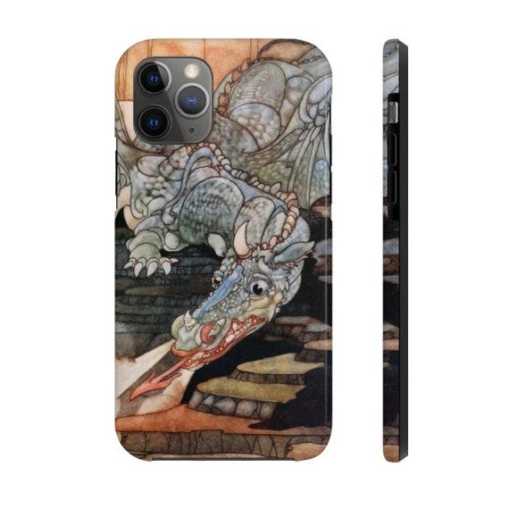 Here Be Dragons, iPhone 11 Tough Case, Vintage Art Nouveau Illustration