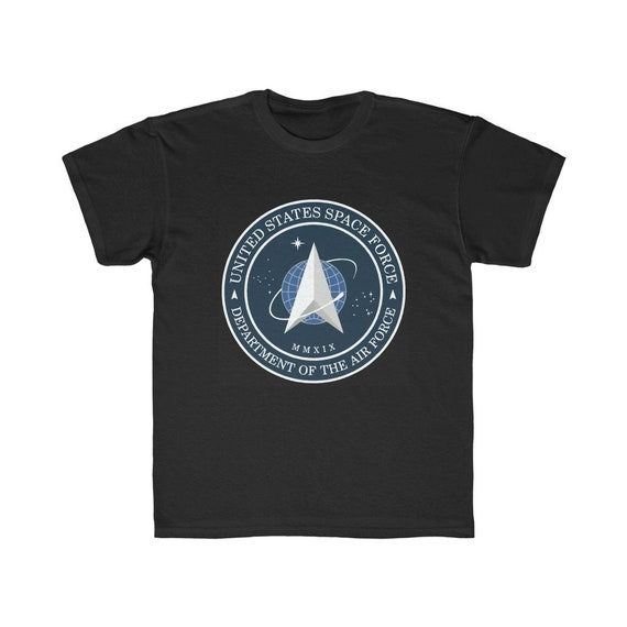 Space Force Insignia Logo, Kids Regular Fit Tee, Sizes XS to XL, From Official USSF Seal, Military