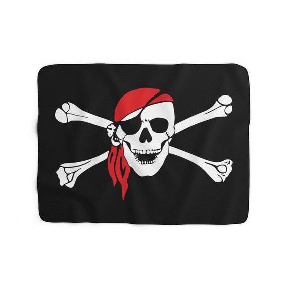 Skull & Crossbones Sherpa Fleece Blanket, Pirate Flag, Jolly Roger