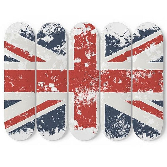 Grunge United Kingdom Flag, Skateboard Wall Art, 5 Maple Decks/Boards