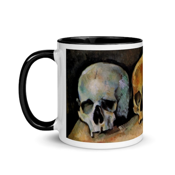 Three Skulls, 11oz Ceramic Mug, Black & White Trim, Vintage Painting, Cezanne, 1900