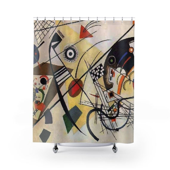 Transverse Line, Shower Curtain, Vintage Abstract Painting, Wassily Kandinsky, 1923
