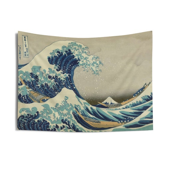 "The Great Wave off Kanagawa, 36""x26"" Indoor Wall Tapestry, From A Vintage Woodblock Print"