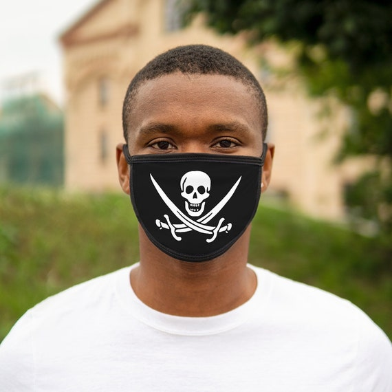 Skull And Crossed Cutlasses, Cotton & Polyester Face Mask, Washable, Reusable, Pirate Flag, Jolly Roger, Calico Jack