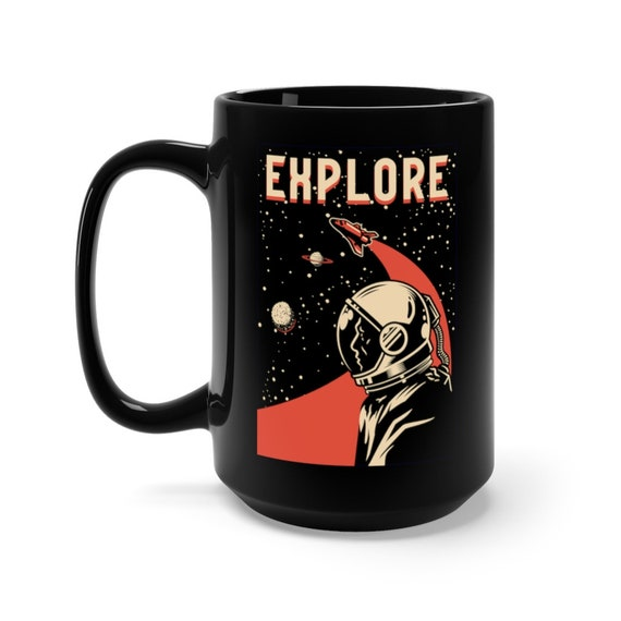 Explore Black 15oz Ceramic Mug, Vintage Retro design, Space Fan, NASA Fan, Coffee, Tea