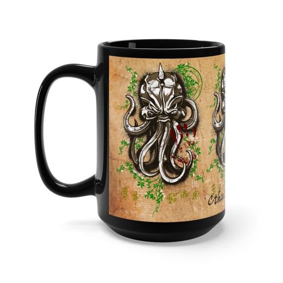 Cthulhu Fhtagn 15oz Black Ceramic Mug, Vintage Inspired Cosmic Horror Design, Lovecraft