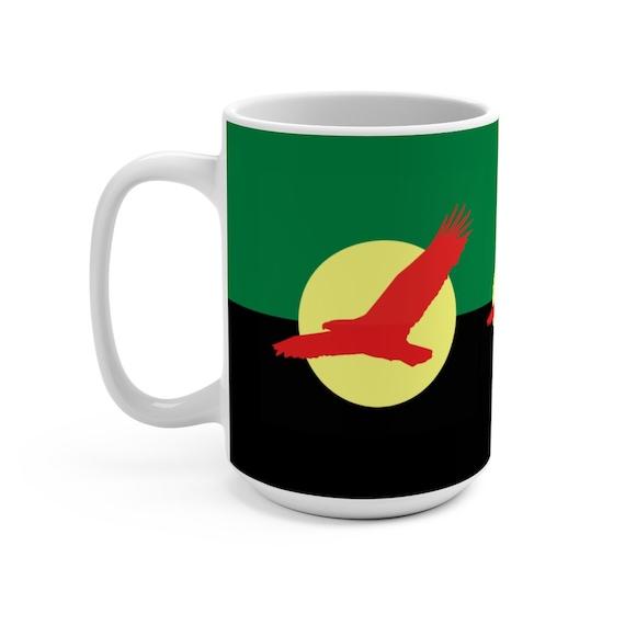 House Atreides v1, White 15oz Ceramic Mug, Inspired From Dune, Cosplay, Red Hawk, Caladan, Banner, Coffee, Tea