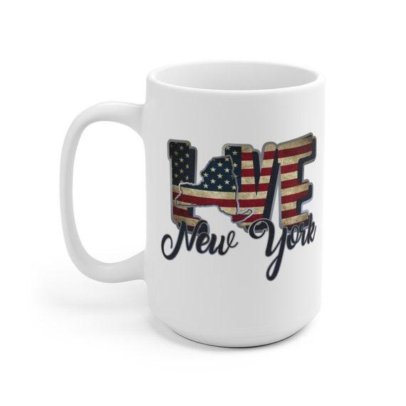 I Love New York, Large White Ceramic Mug, Vintage Retro Flag, Patriotic, Patriotism, United States, Coffee, Tea
