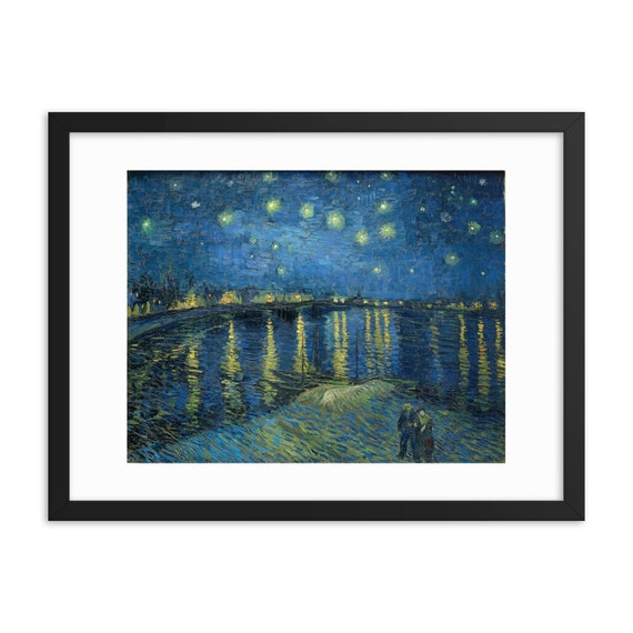 """Starry Night Over The Rhone, 24"""" x 18"""" Framed Poster, Black Wood Frame, Acrylic Covering, Vincent Van Gogh"""