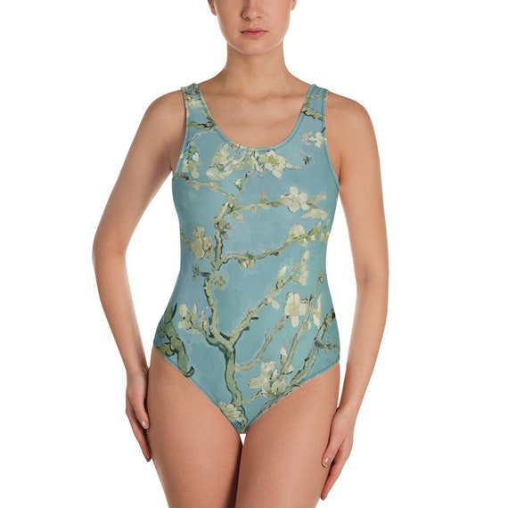 Almond Blossoms, Women's One-Piece Swimsuit, Vintage Painting, Van Gogh 1890