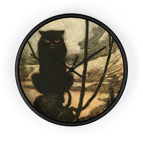 "Black Cat, 10"" Black Wall Clock, Halloween, Vintage Illustration, Arthur Rackham, 1920"