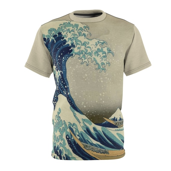 The Great Wave off Kanagawa, Unisex T-shirt, From A Vintage Woodblock Print, AOP
