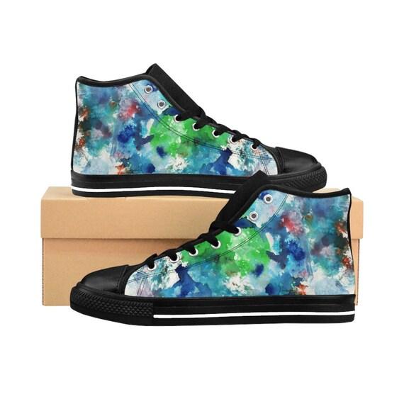 Women's Vintage Inspired Watercolor High-top Sneakers