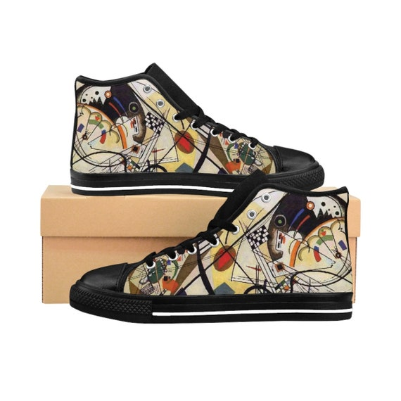 Wassily Kandinsky, Transverse Line, Men's High-top Sneakers, Abstract