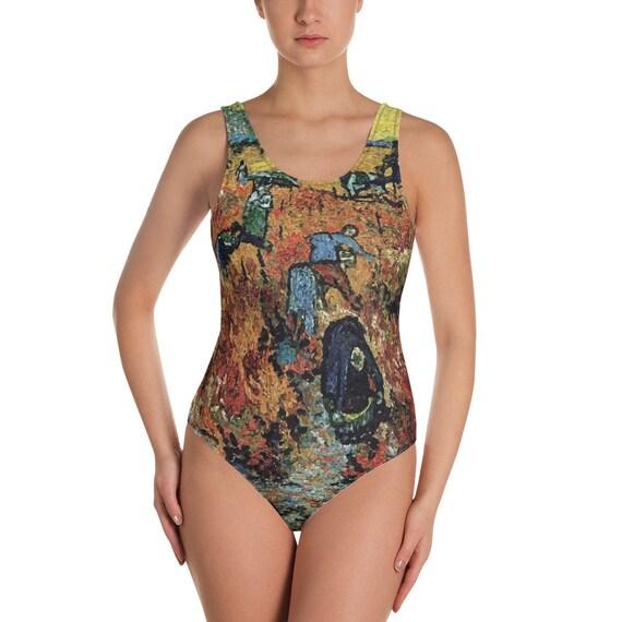 Red Vineyard, Women's One-Piece Swimsuit, Vintage Painting, Van Gogh 1888