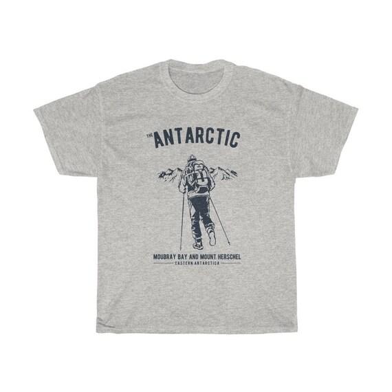 Antarctica Adventure  - Unisex Heavy Cotton Tee With Vintage Inspired Image Of An Adventurer In Antarctica. (Lighter Colors)