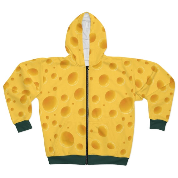 Cheese Hoodie With Green Trim, Unisex, Zipper, Fleece, For Green Bay Packers Games. For a Cheesehead!