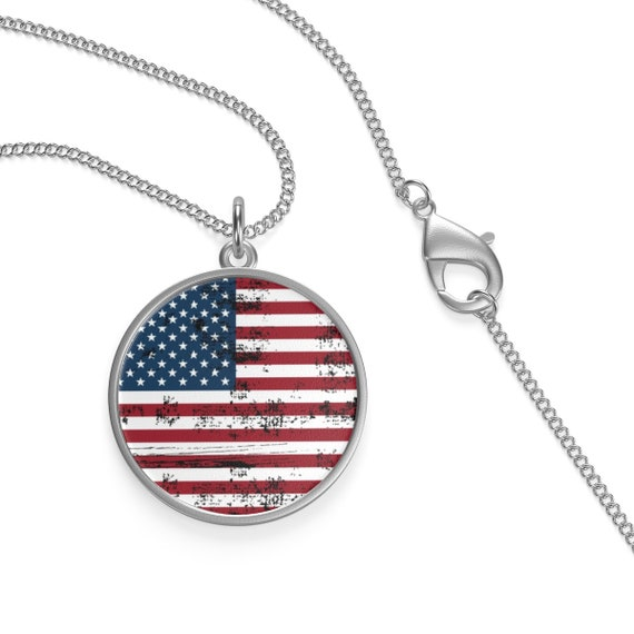 Shabby American Flag, Sterling Silver Necklace, Vintage Inspired