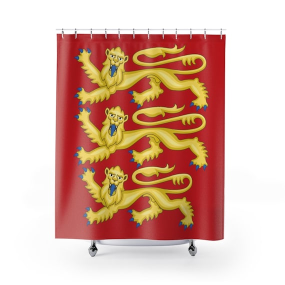 Plantagenet Lions, Shower Curtain, Royal Arms of England, English Pride