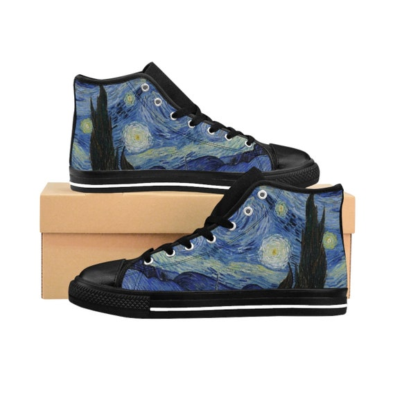 Starry Night, Women's High-top Sneakers, Vintage Painting, Van Gogh 1889