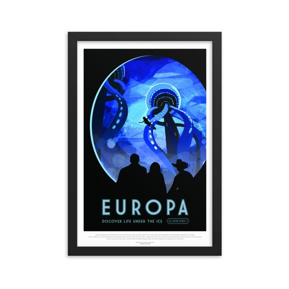 "Solar System: Europa, 12"" x18"" Framed Giclée Poster, Black Wood Frame, Acrylic Covering, Fake Vintage/Retro Style NASA Travel Poster"