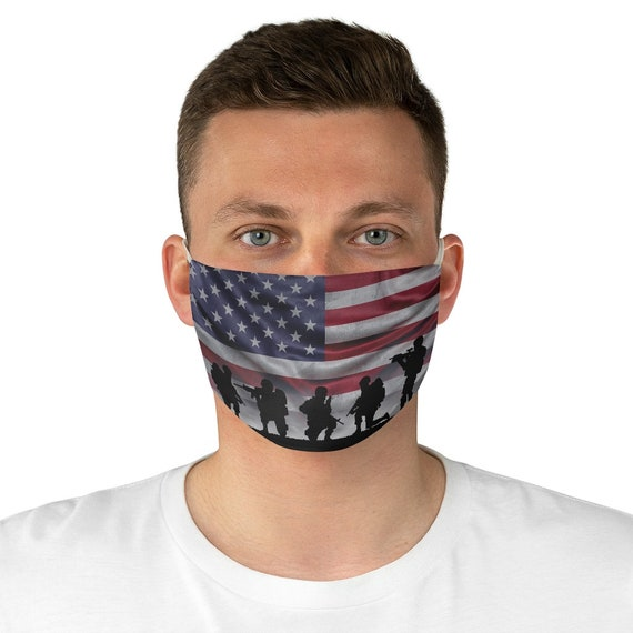 American Soldiers, Cloth Face Mask, Washable, Reusable, American Flag, Patriotic, Military