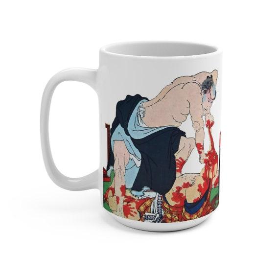 Angry Samurai, White 15oz Ceramic Mug, Vintage Japanese Woodblock