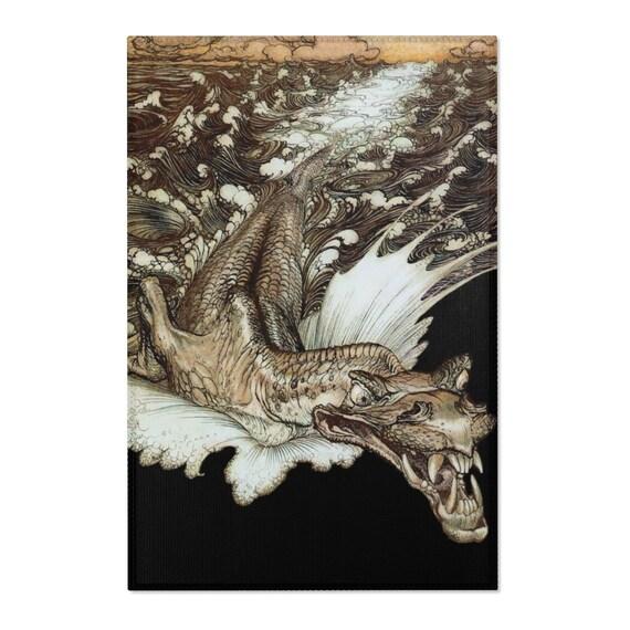 Leviathan Area Rug, Arthur Rackham, Sea Dragon, Sea Monster, Sea Serpent