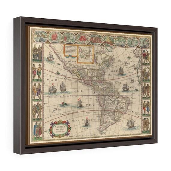 "17th Century Map Of The Americas, 16""x12"" Framed Gallery Wrap Canvas, Willem Blaeu, Circa 1621, Room Decor"