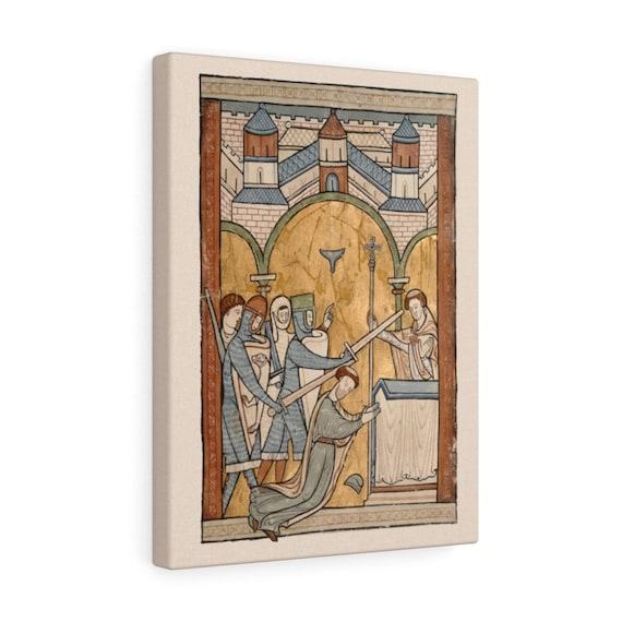 The Murder Of Thomas Becket, Gallery Canvas, From 12th Century Illuminated Manuscript, Saint Thomas of Canterbury, Christian Religion